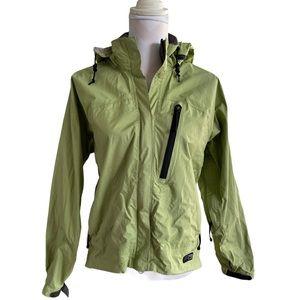 REI lime green hooded windbreaker rain jacket S *